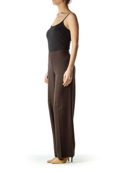 Brown Wide-Leg Work Pant