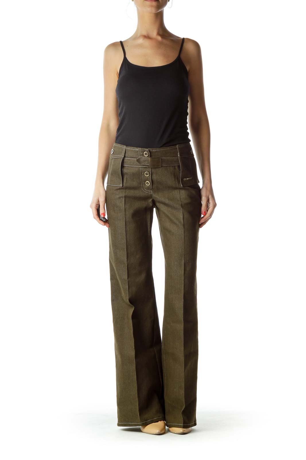 Green Buttoned Wide Leg Pant