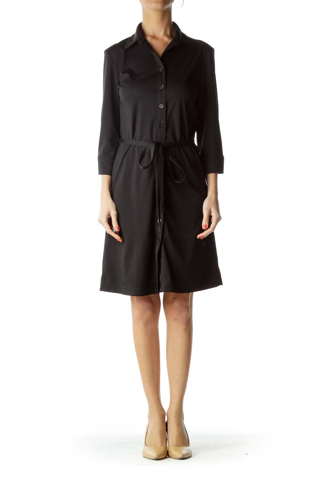 Black Buttoned Long Sleeve Work Dress
