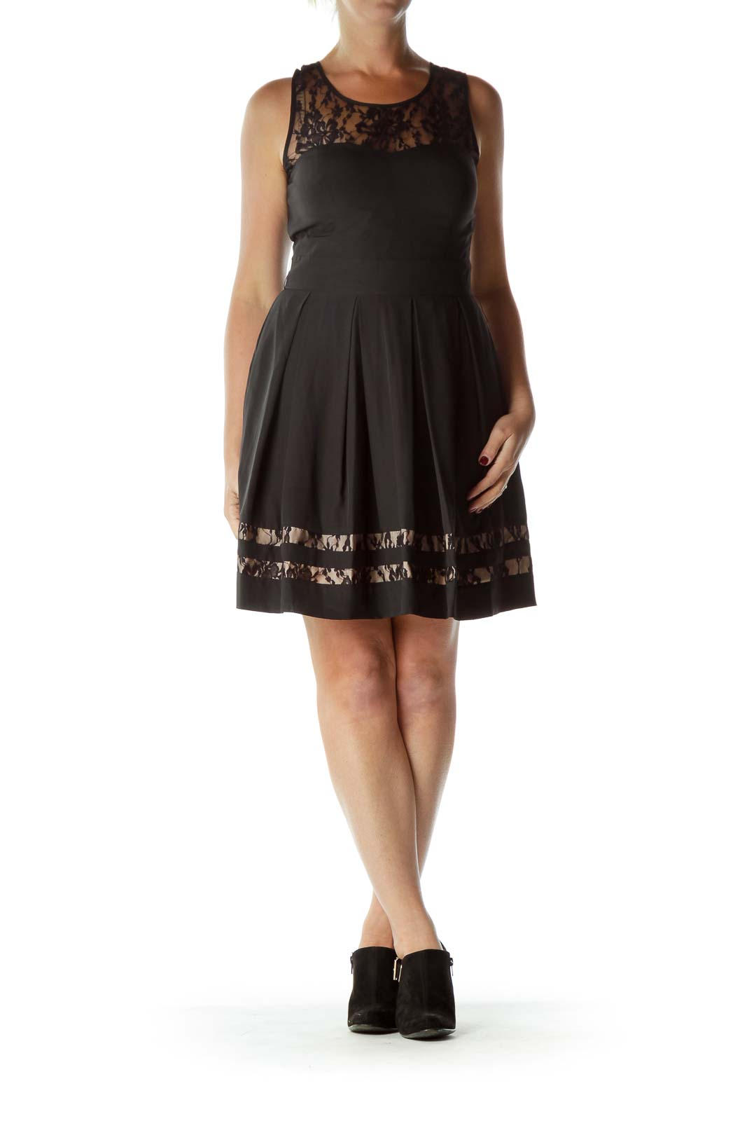 Black Lace Empire Waists Cocktail Dress