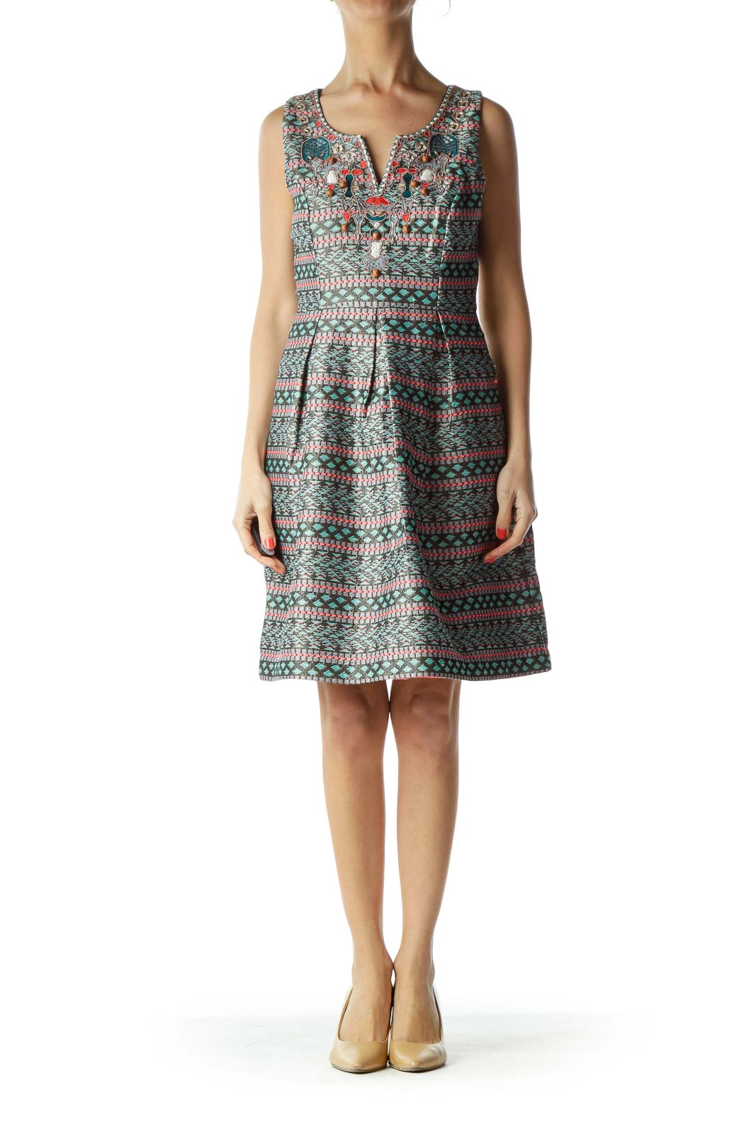 Multicolor Print Embroidered A-Line Dress