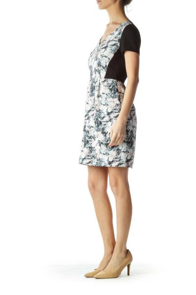 Black Print V-Neck Sheath Dress