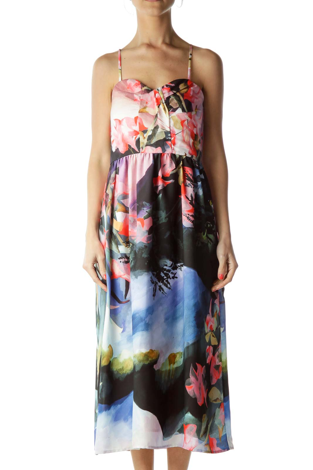 Multicolor Floral Print Cocktail Dress