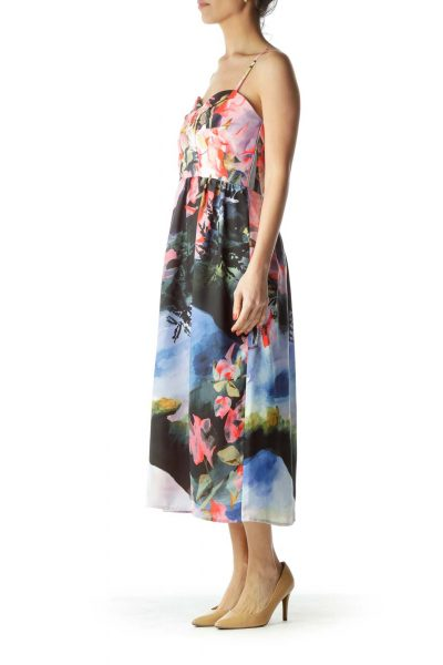 Multicolor Floral Print Cocktail Dress
