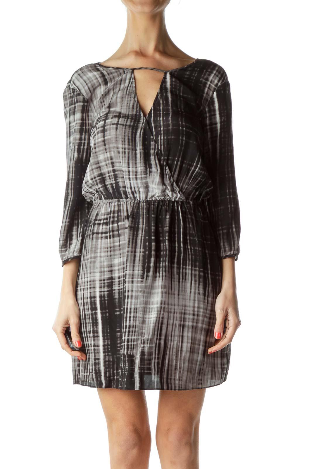 Gray Black Tie Dye Day Dress
