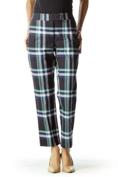 Navy Checkered Straight-Leg Pant