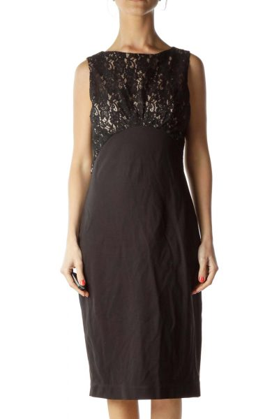 Black Beige Lace Work Dress