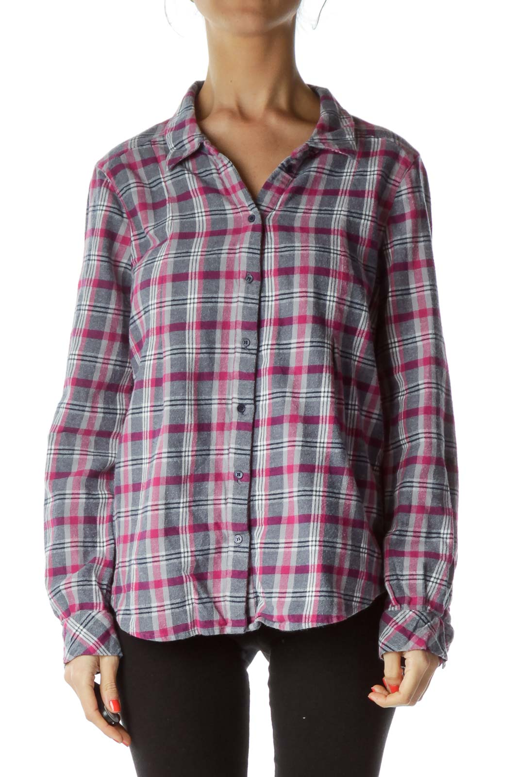 Pink Checkered Flannel Shirt