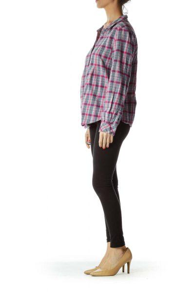 Pink Checkered Flannel Shirt