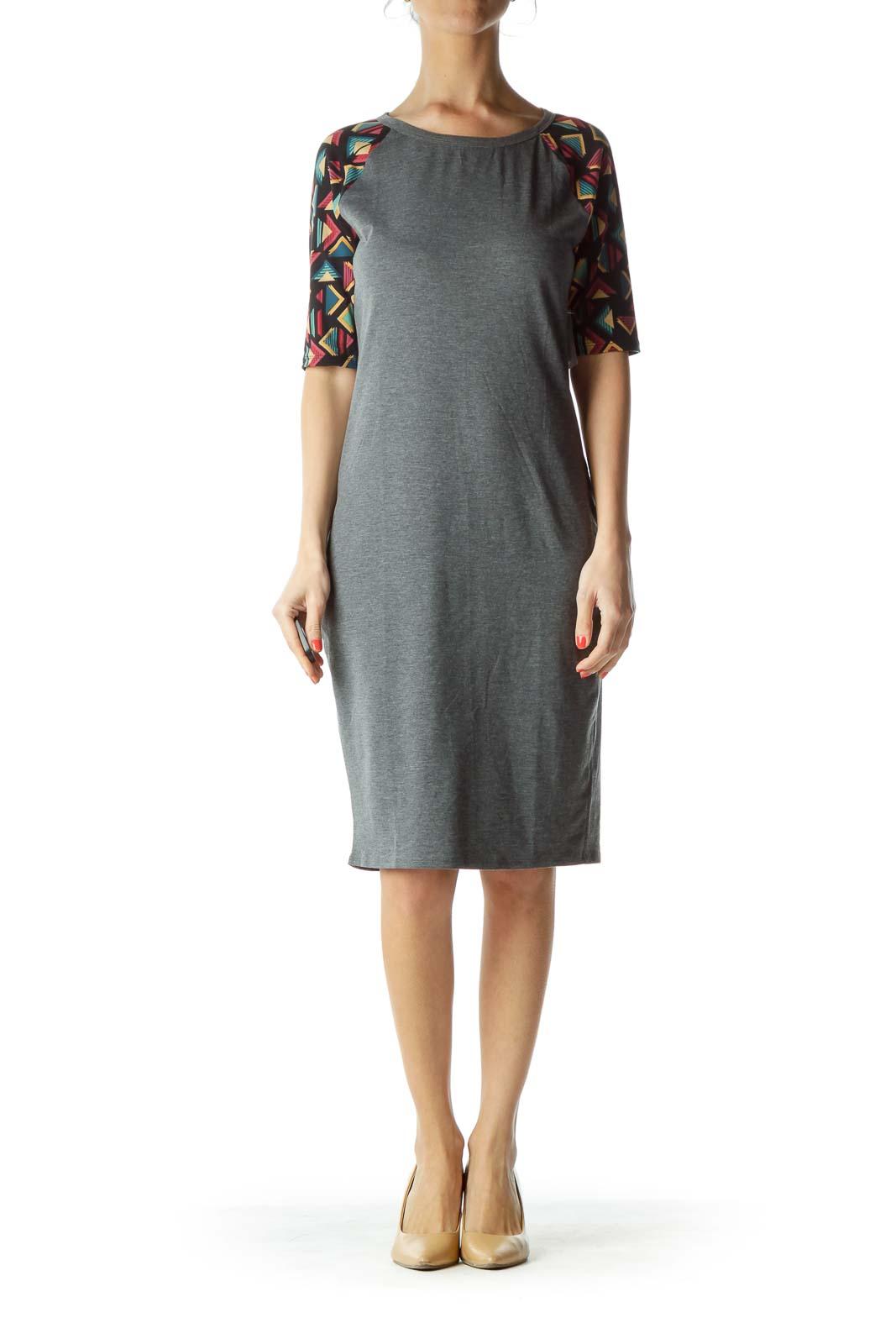 Gray Tribal Print Sleeve Jersey Dress