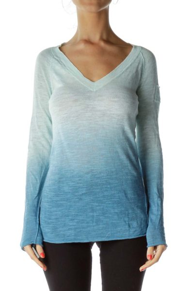 Blue Ombre Linen Sweater