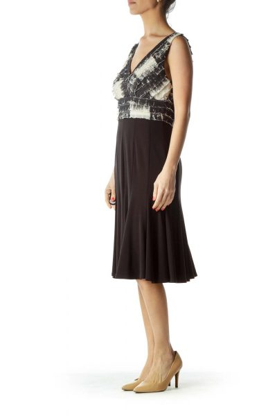 Black Beige Tie Die Pleated Cocktail Dress