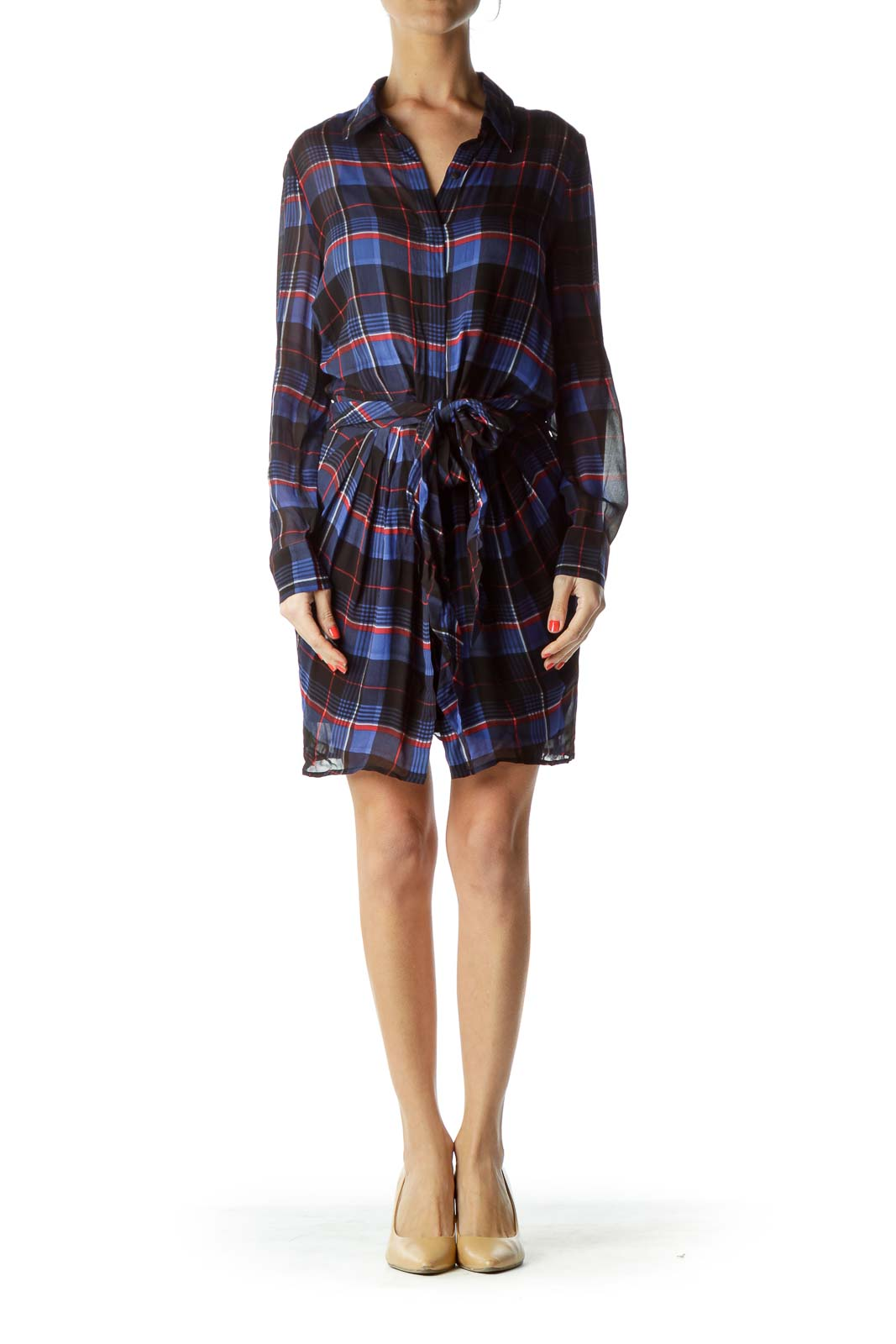 Navy Checkered Sheer Shirt Dress