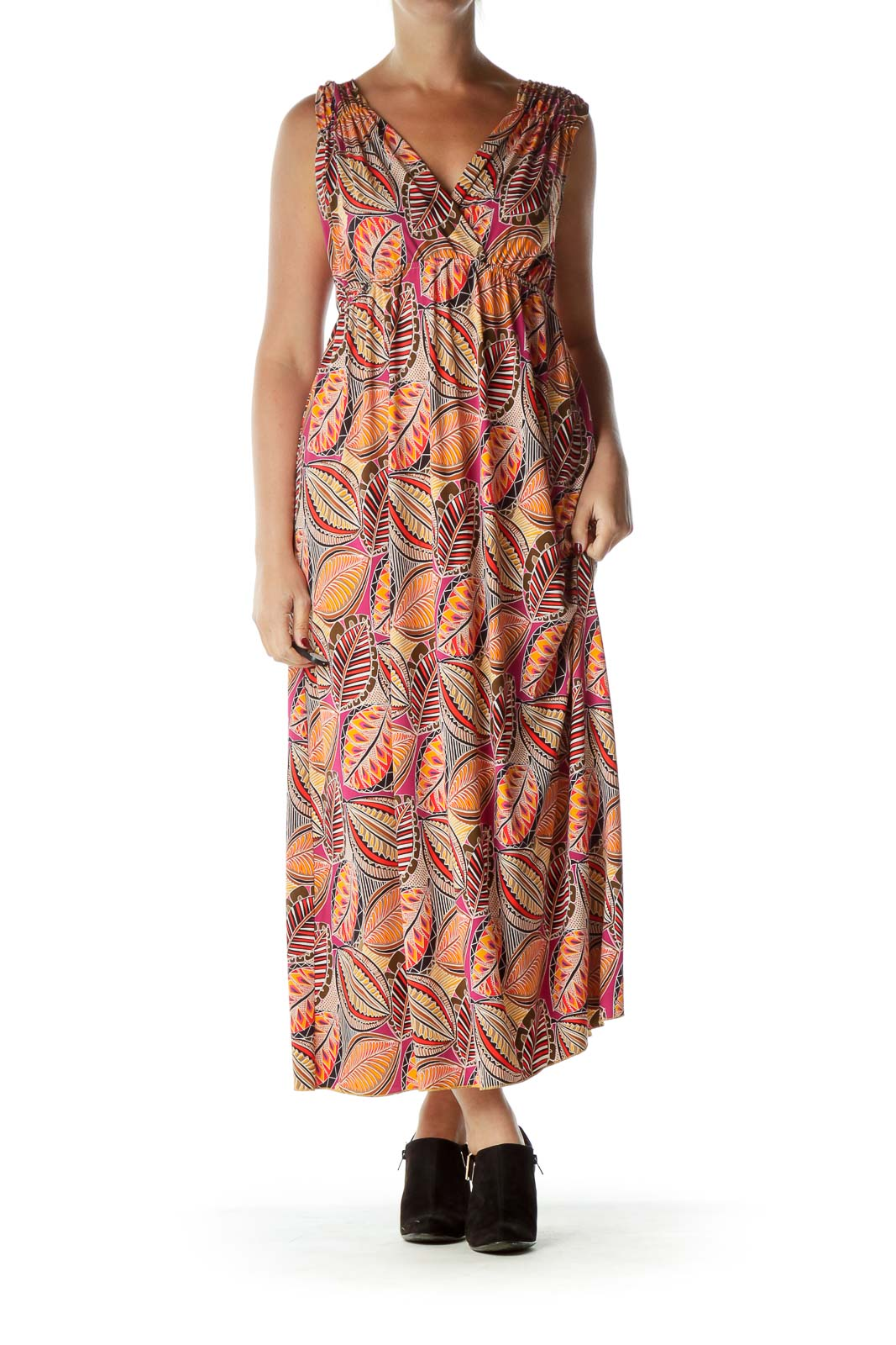 Orange Print Empire Waist Maxi Dress