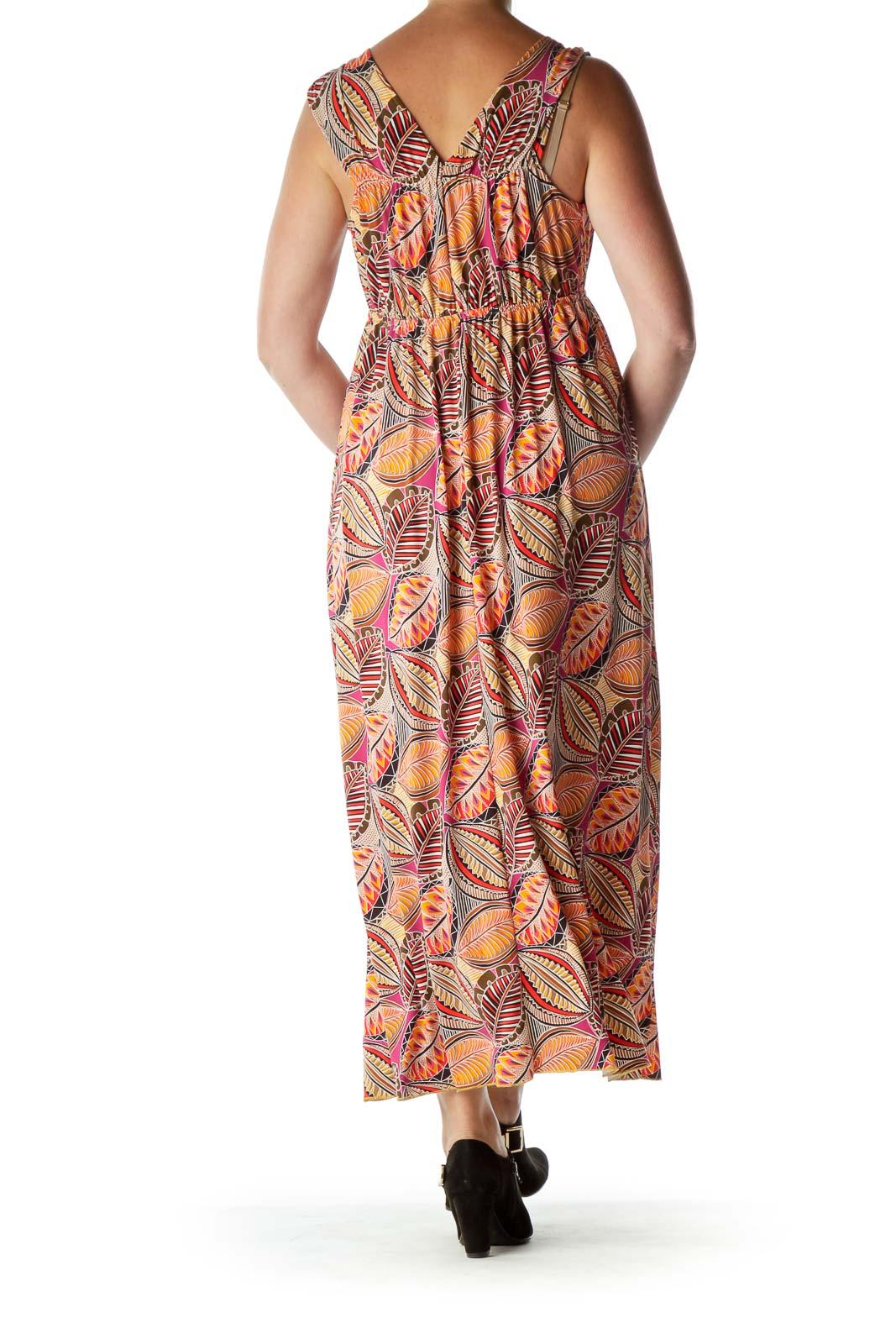 Orange Print Empire Waist Maxi Dress