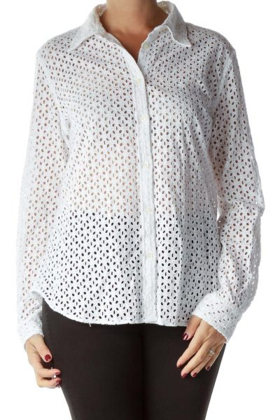 White Eyelet Collared Blouse