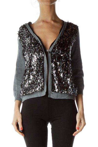 Gray Sequin Cardigan