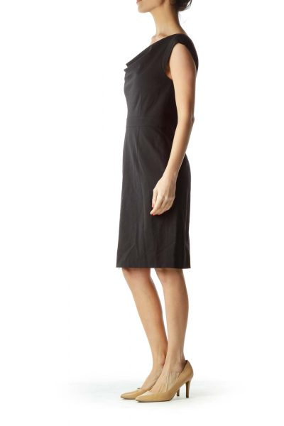 Black Boat Neck Work Dress