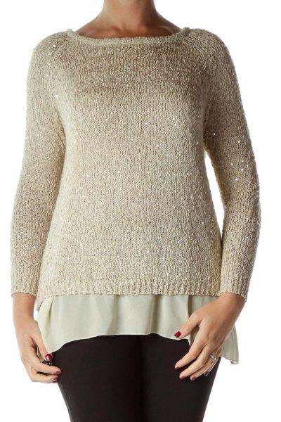 Beige Sequin Sweater