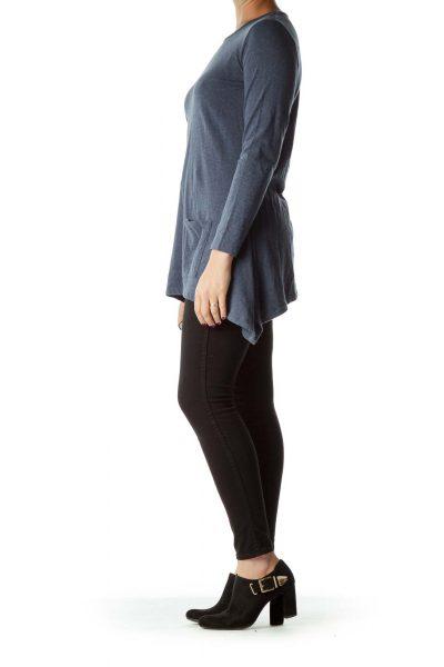 Blue Mottled Pocketed Long Sleeve Top