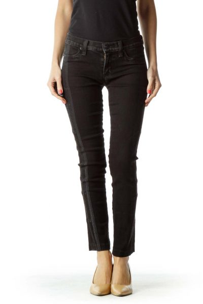 Black Embroidered Skinny Jean