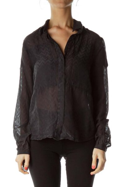 Black Print Sheer Blouse
