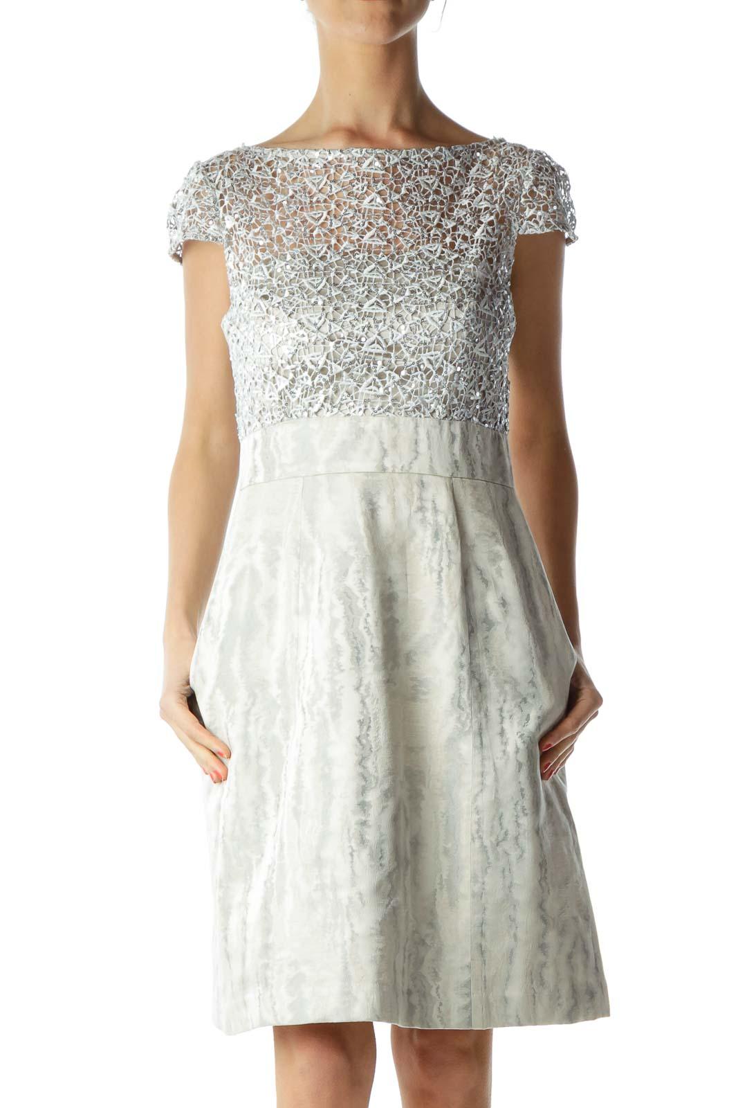 Cream Silver Sequined Metallic Cocktail Dress