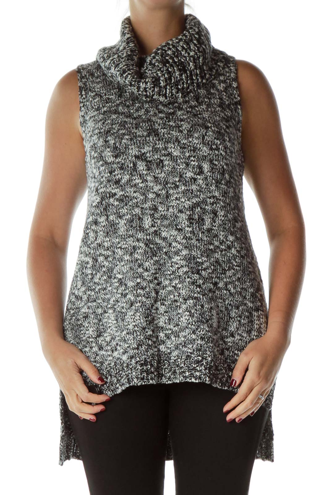 Black White Mottled Cowl Neck Sleeveless Sweater