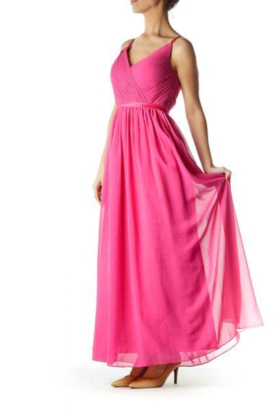Pink Empire Waist Evening Dress