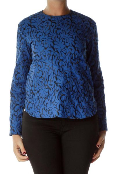 Blue Embroidered Long Sleeve Top