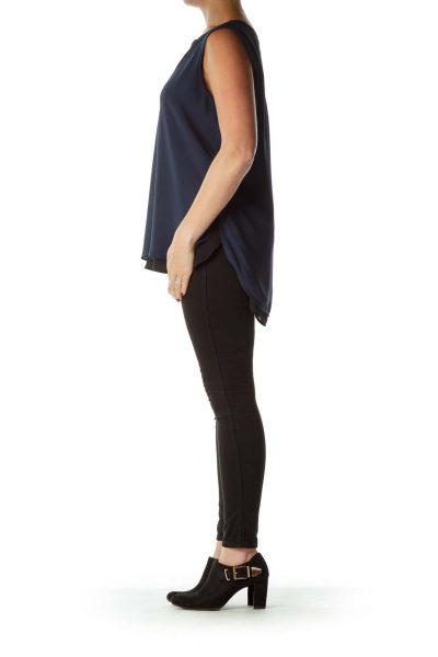 Blue Black Sleeveless Blouse