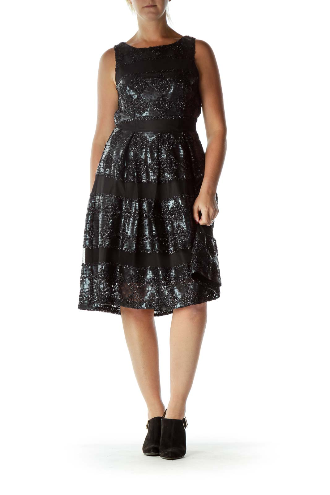 Black Sequin Pleated Dress