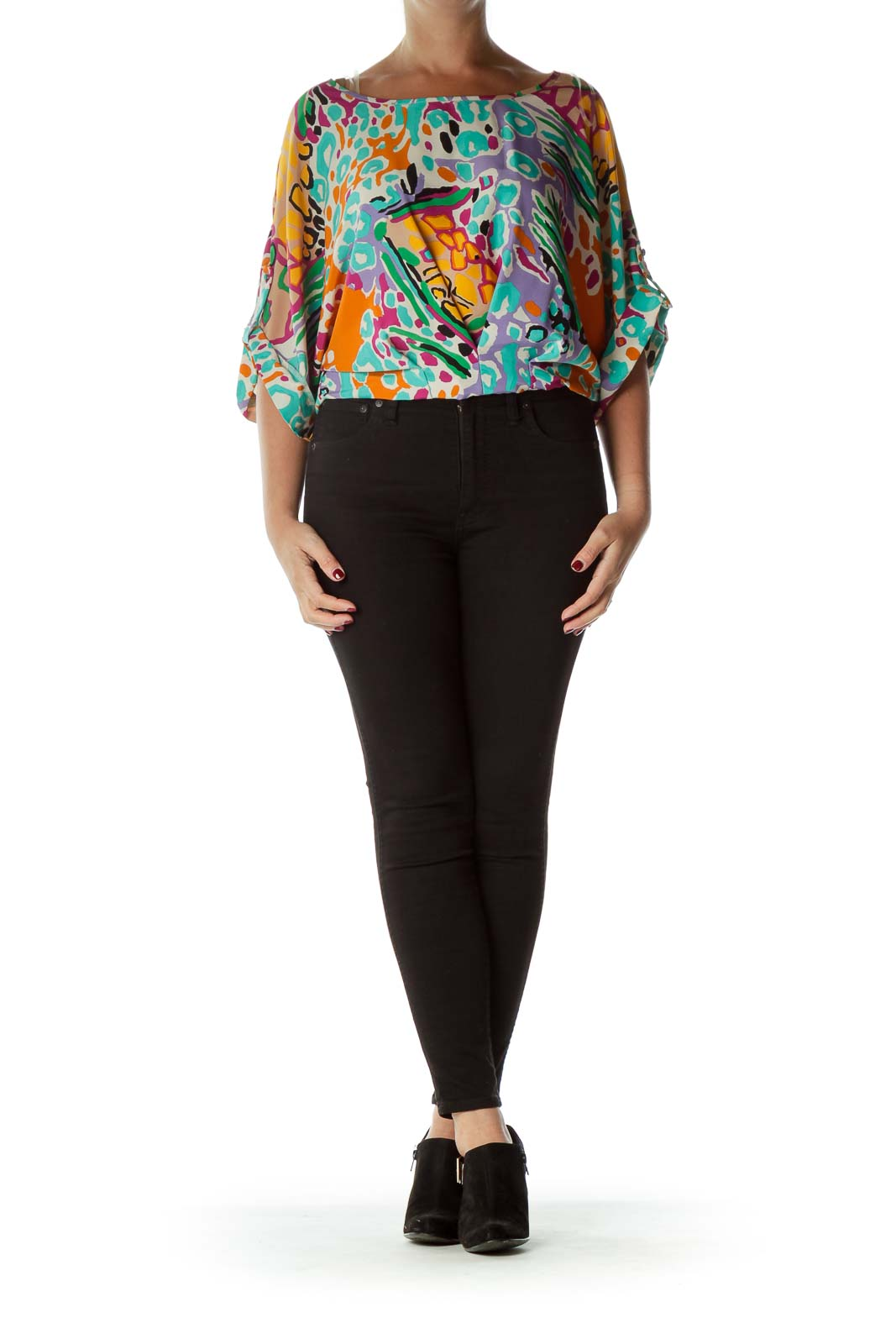 Multicolor Printed Batsleeve Blouse