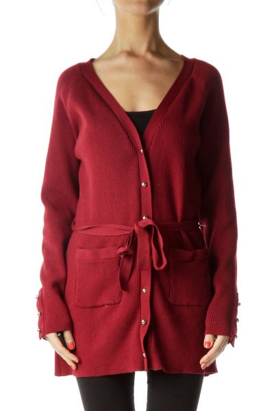 Red Ribbed Knit Cardigan
