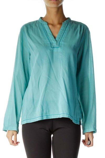 Blue Stitched Cotton Tunic