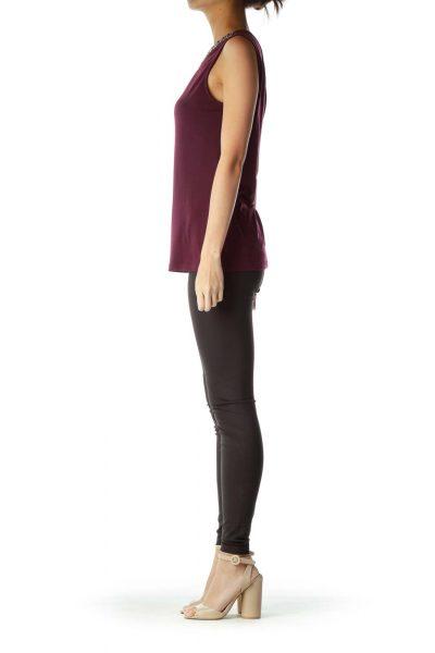 Purple Beaded Sleeveless Tunic