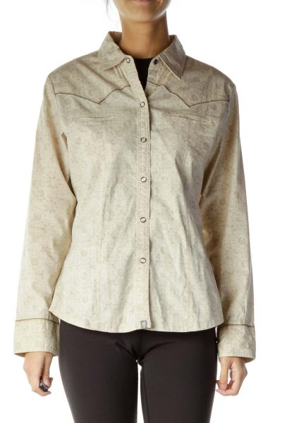 Beige Brown Printed Snap Button shirt