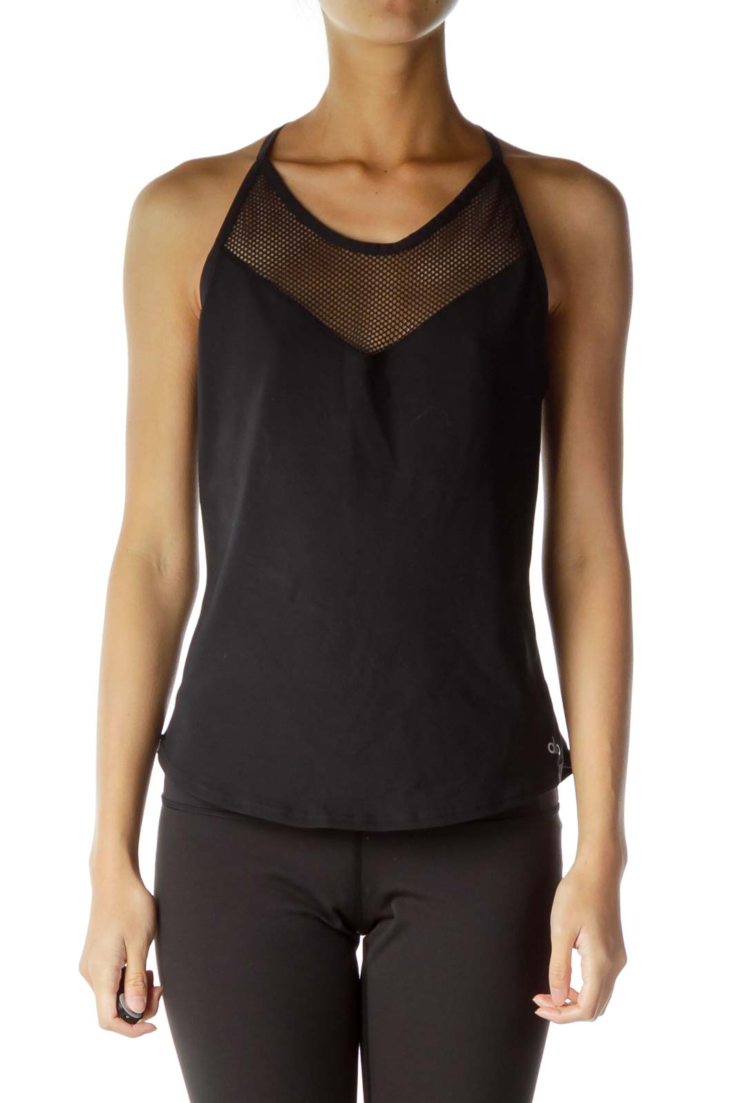 Black Fishnet Fitted Sports Top