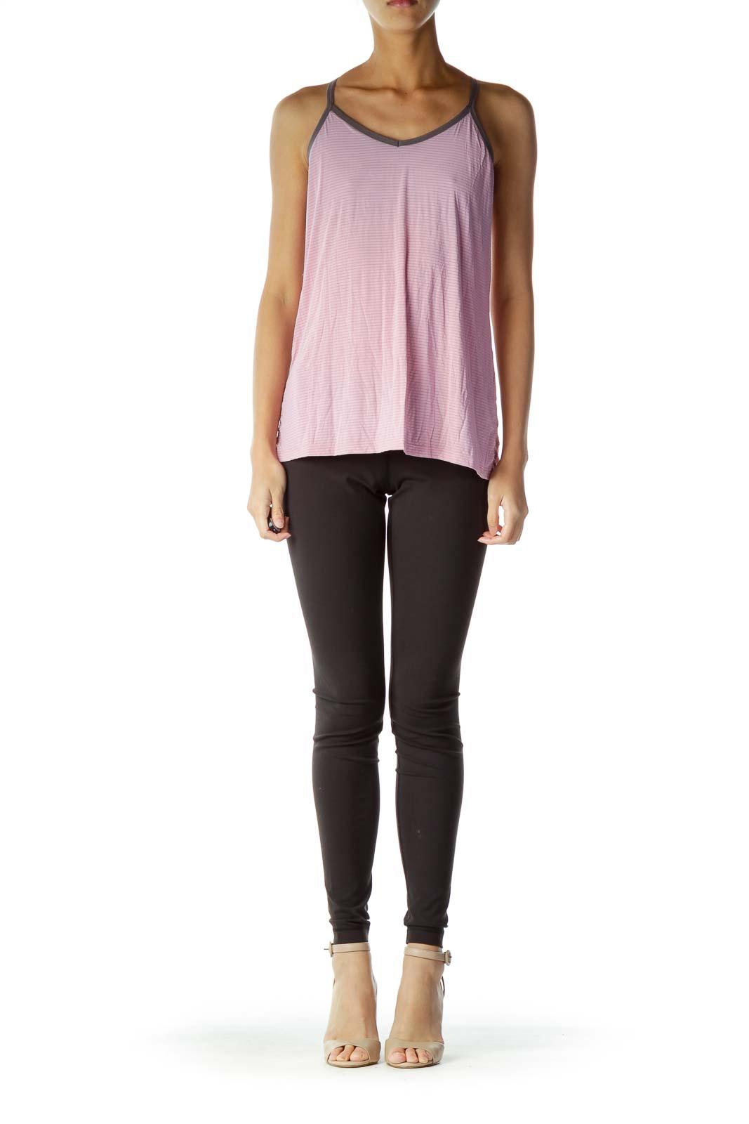 Pink Gray Loose Striped Yoga Top
