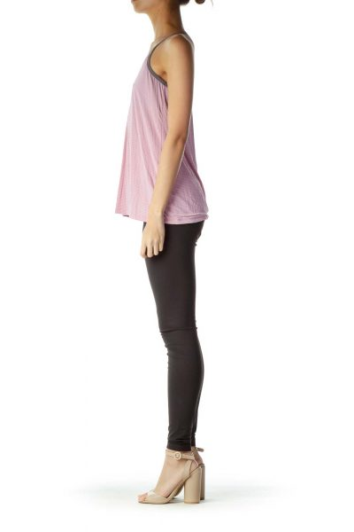 Pink Gray Loose Striped Yoga Top