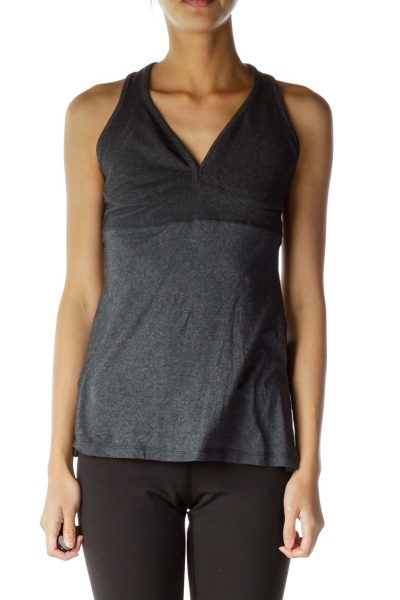 Grey Fitted Yoga Top