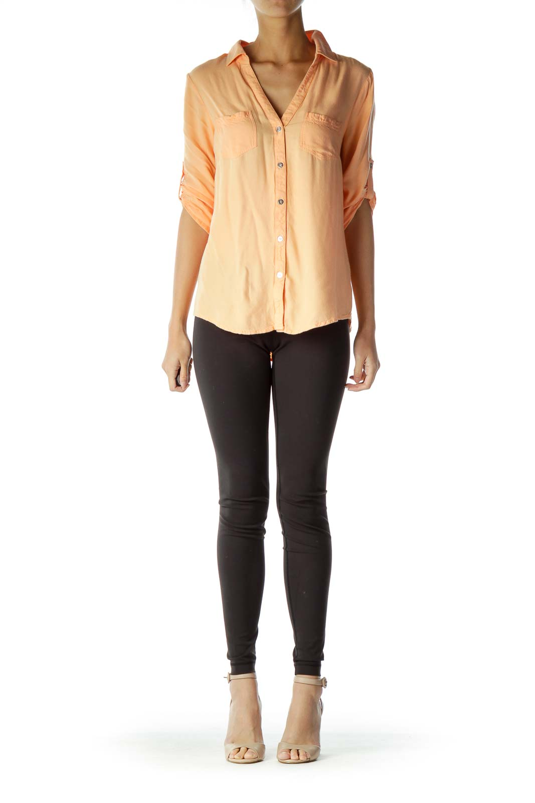 Orange Buttoned Pocketed Shirt