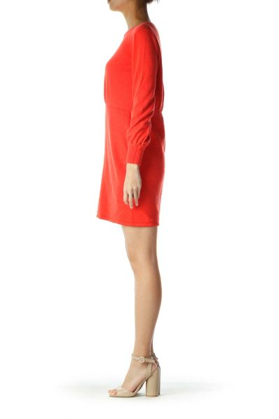 Red A-Line Long-Sleeve Knit Dress