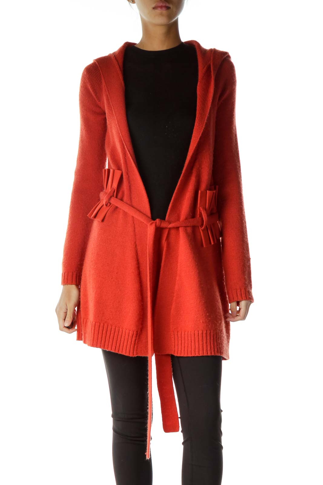 Orange Belted Hooded Cardigan