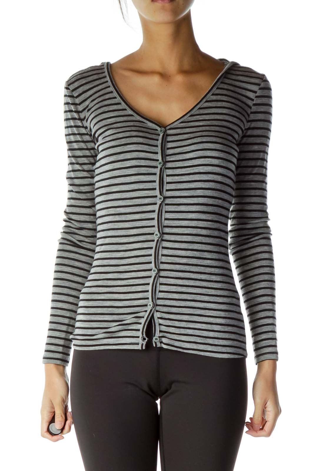 Black Gray Striped Hooded Cardigan