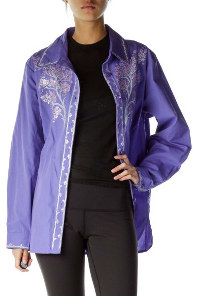 Purple Silver Sequined Embroidered Shirt