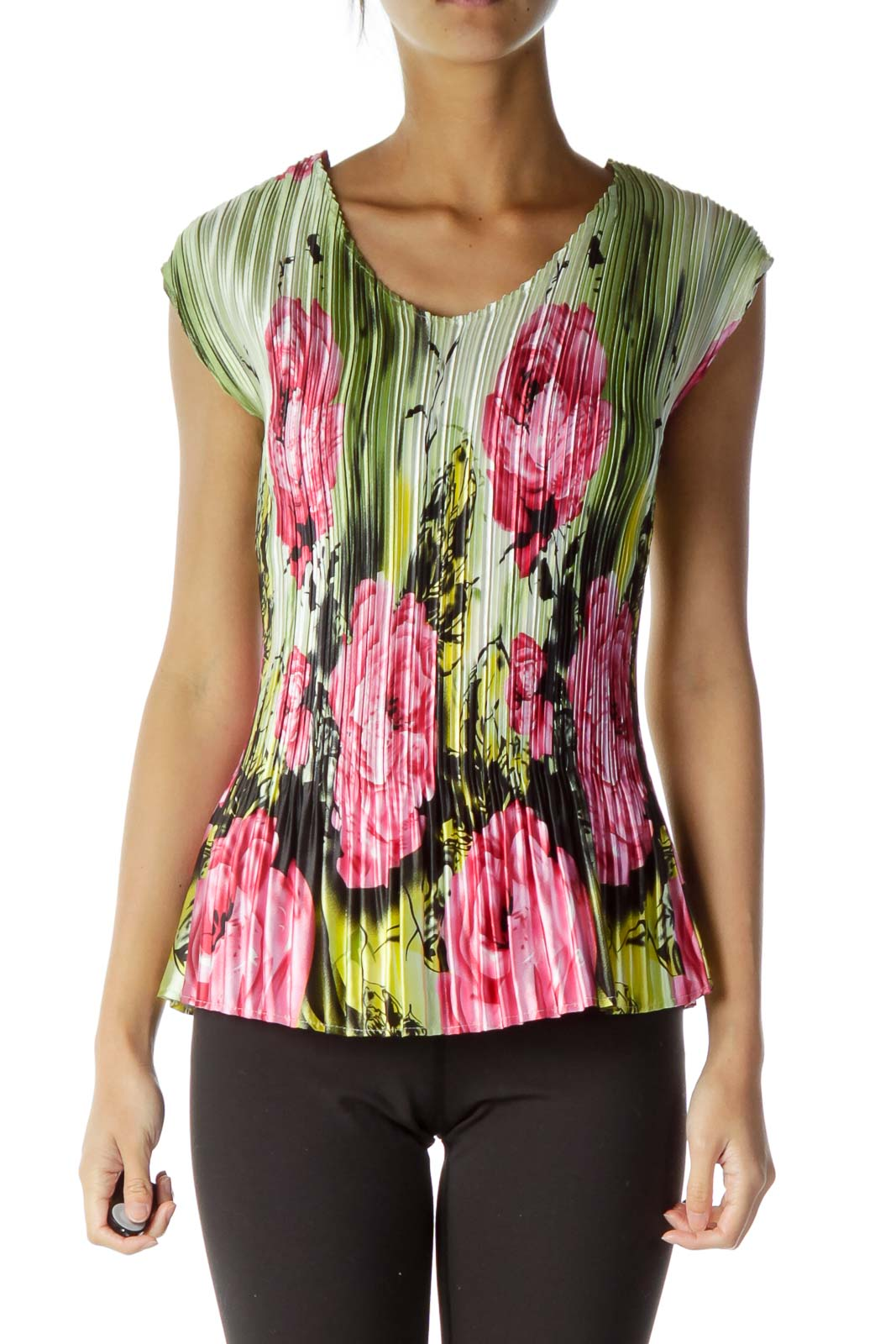 Green Pink Flower Scrunched Top