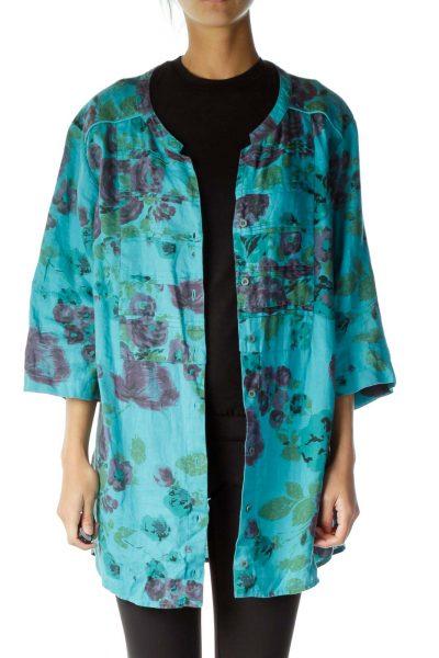 Blue Floral Print Button Down Linen Shirt