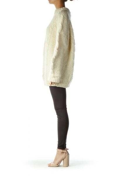 Cream Cable Knit Chunky Sweater