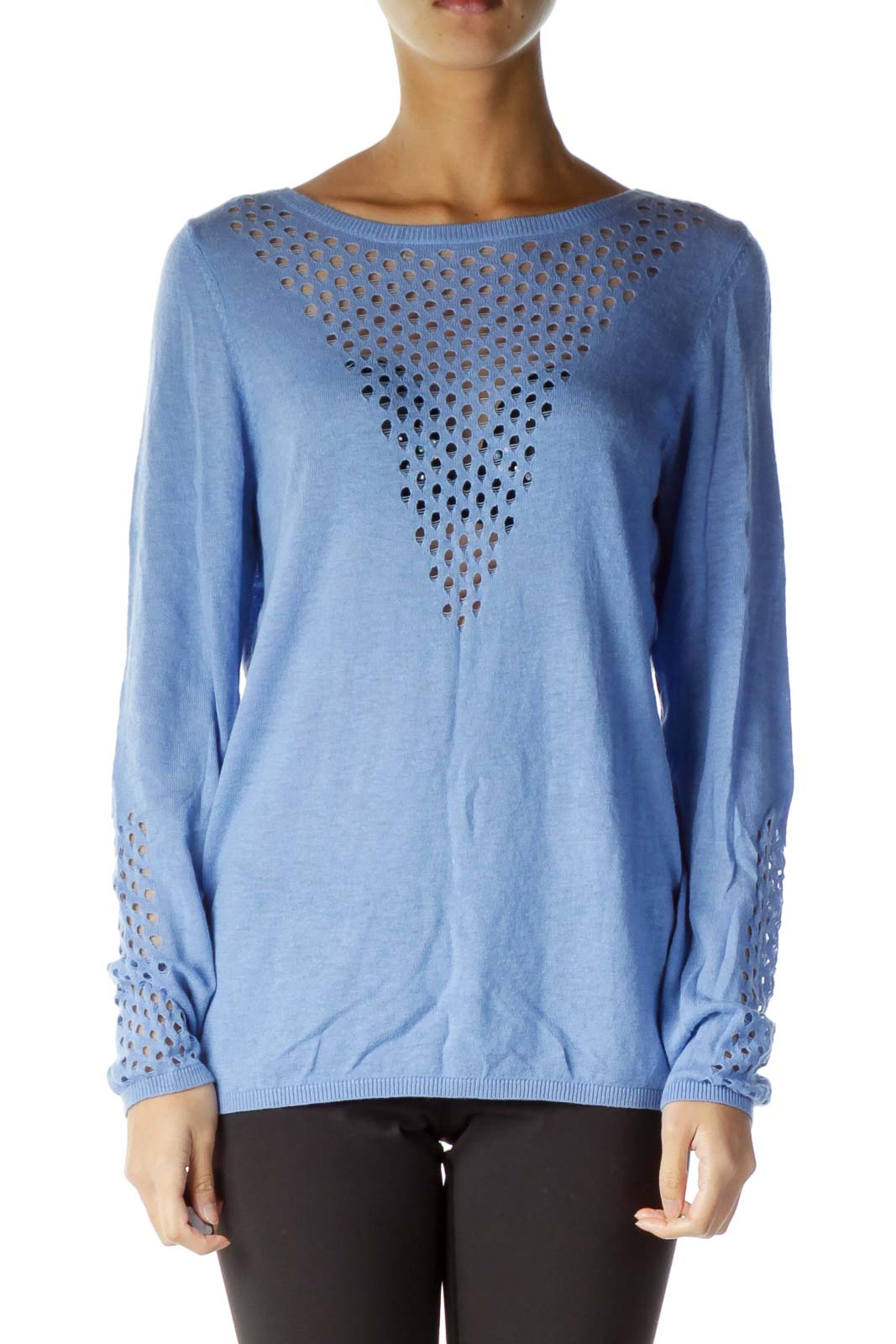 Blue Crocheted Detail Sweater